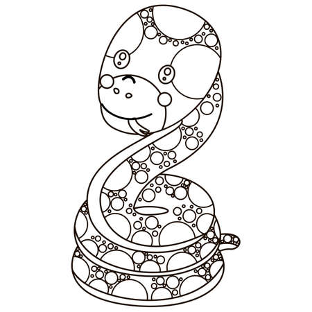 A black and white character of a boa constrictor with a protruding tongue. Cute outline cartoon snake. For colorin book. Vector.