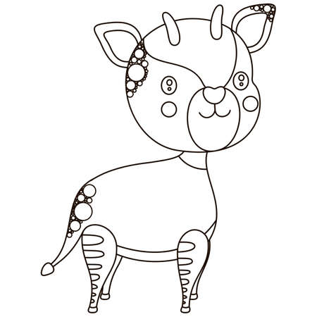 Cute black and white cartoon okapi smiling character. Isolated monochrome children's illustration of an African artiodactyl jungle animal for coloring. Vector.