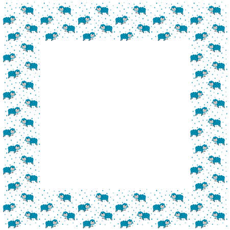 Square toddler frame with place for the text of cute cartoon standing blue lambs and drops on a white background. Copy space. Vector.