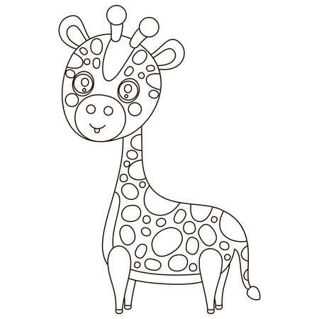 Cute cartoon black and white baby giraffe. Single outline African animal for printing on children's clothing, coloring book. Vector.
