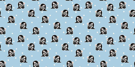 Seamless pattern of cute little smiling cartoon zebra faces with protruding tongues, ruddy cheeks, and white circles on blue background. African snouts of striped horses. Endless texture. Vector.