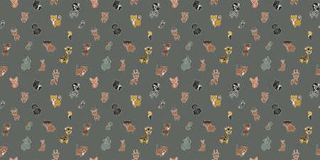 Seamless pattern of parrots, South American noses, leopards, boas, monkeys, tapirs, okapis, gorillas, rhinos, toucans, buffalos, giraffes, bush hares, zebras, fennecs, antelopes, gazelles. Vector.