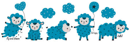 Set of four little cute cartoon blue lambs with calligraphic lettering and Scandinavian style clouds. For printing on baby clothes, postcards, stickers, nursery decor. Vector.