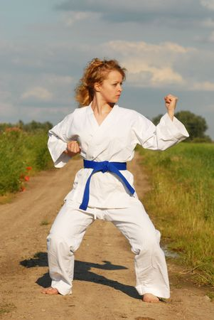 karate training young girl on the meadow photo