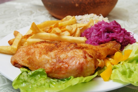 grilled chicken and chips photo