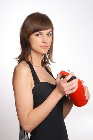 beautiful woman with the fire extinguisher Stock Photo - 11552561