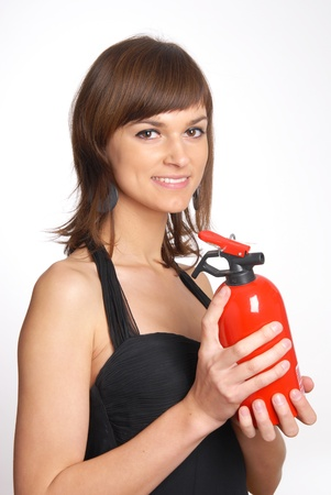 beautiful woman with the fire extinguisher Stock Photo - 11552583
