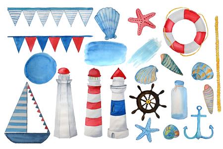 Hand drown watercolor sea set. Bright watercolor elements: lighthouse, boat, seshells, seastars, lifebuoy, steering wheel, rope, flags, anchor Imagens