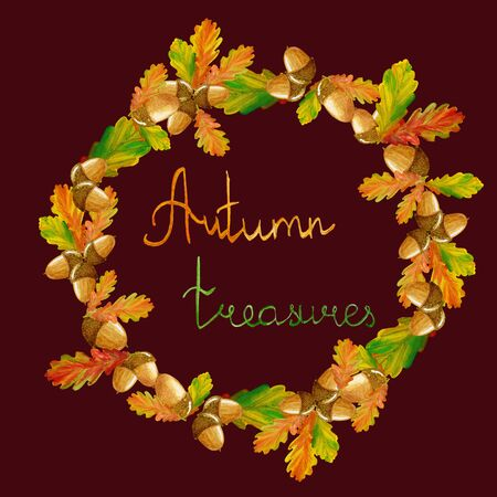Round frame with watercolor acorn nuts and acorn leaves. Autumn wreath. For cards, bags, textile. Stockfoto