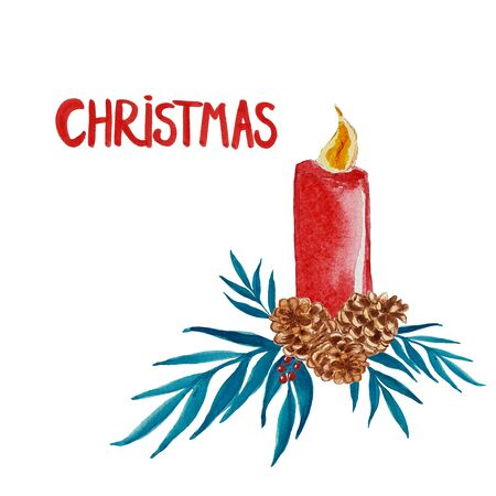 Watercolor christmas card with candle, pine coins and greenery with berries