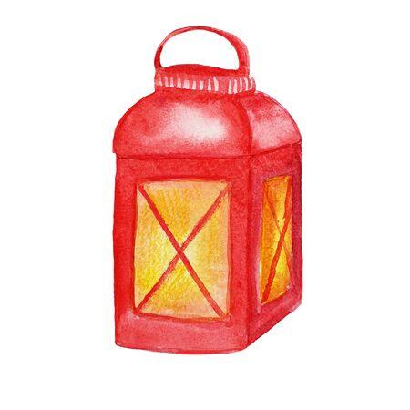 Christmas red lantern. Watercolor hand drawn illustration on white background Stok Fotoğraf - 132309883