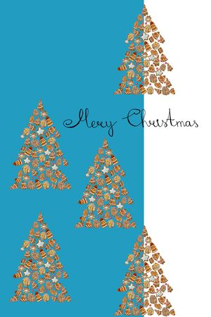 Watercolor shape pine tree with watercolor gingerbread cookies. Christmas greeting card Merry Christmas.