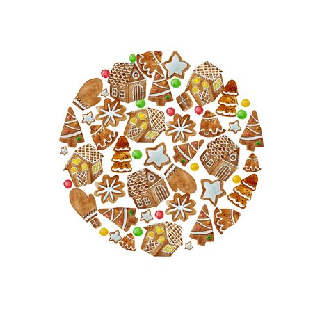 Watercolor shape circle with watercolor gingerbread cookies. Christmas gingerbread arranged in circle composition. Imagens