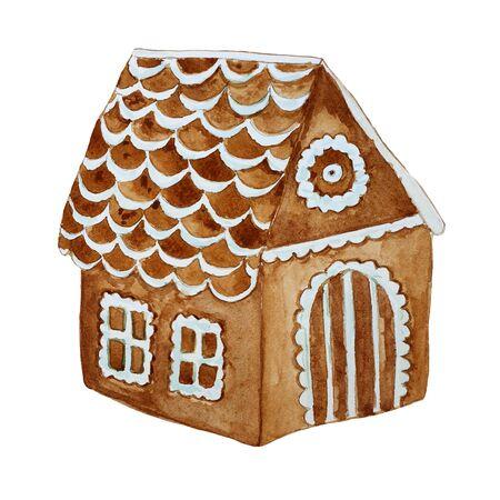 Watercolor hand drawn gingerbread house. Wonderful holiday mood.