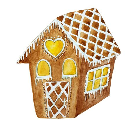 Watercolor hand drawn gingerbread house. Wonderful holiday mood. Imagens