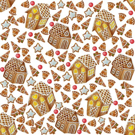 Seamless pattern with christmas gingerbrad house cookies. Christmas background, wraping paper.