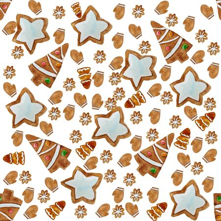 Seamless pattern with christmas ginger cookies. Christmas background, wraping paper.