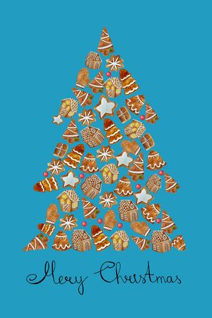 Watercolor shape pine tree with watercolor gingerbread cookies. Christmas gingerbread arranged in pine tree composition. Imagens