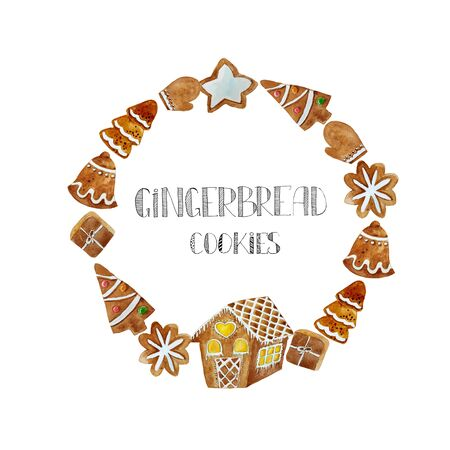 Round frame with christmas ginger cookies. Christmas gingerbread arranged in circle composition with text. For card, bag, logo