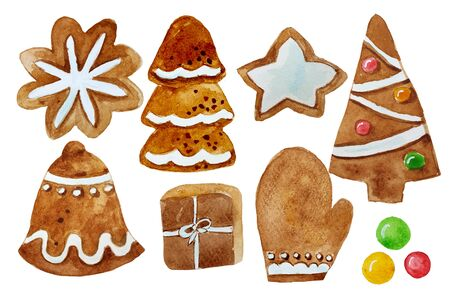 Set christmas ginger cookies, homemade bisquits. Watercolor christmas illustration.