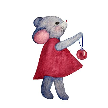 Watercolor hand drawn illustration of mouse in red dress with ball for christmas tree. Illustration for cards, magnet and other souvenirs.