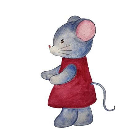 Watercolor hand drawn illustration of mouse in red dress. Illustration for cards, magnet and other souvenirs. Christmas illustration. Stockfoto