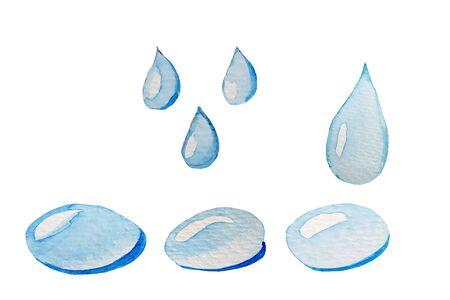 Watercolor hand-drawn drops of water. Rain drops Standard-Bild