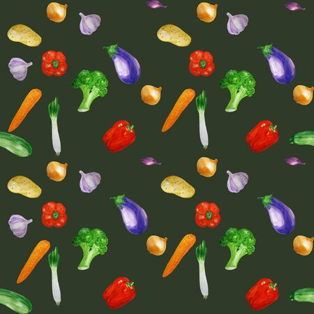 Seamless pattern with  ripe organic vegetables. Food background. For wrapping papper, cookbook, web background
