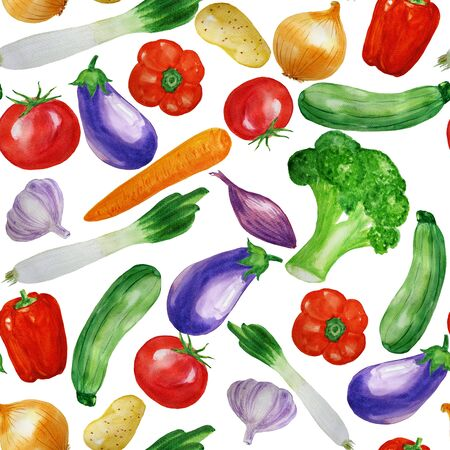 Seamless pattern with   vegetables. food background. For wrapping paper, web background, cookbook