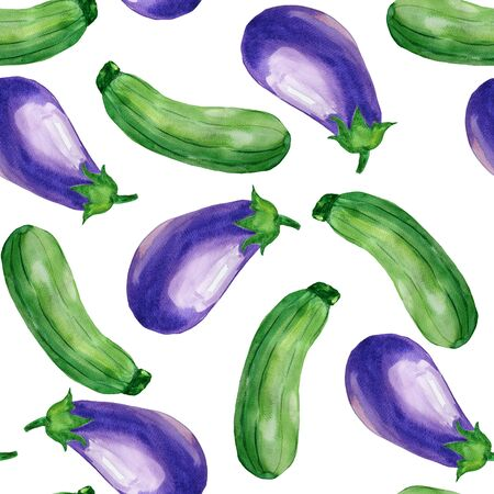 Seamless vegetables pattern with  zucchini and aubergine. Food background. Wrapping paper, web background.