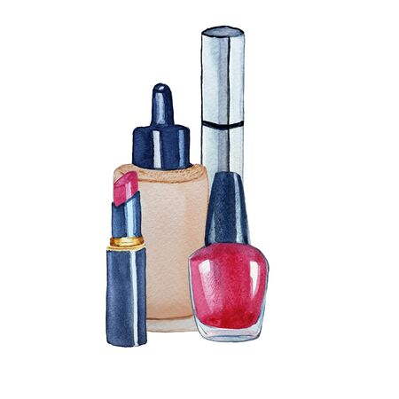 Set of cosmetic products lipstick, foundation, mascara and nail polish. Watercolor hand drawn fashion illustration. Beauty concept. 写真素材