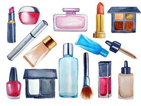 Big set of cosmetic products. Lipstick, mascara, foundation, eyeshadows. Watercolor hand drawn fashion illustration. Beauty concept.