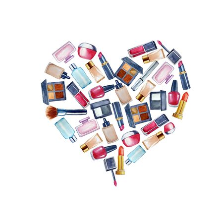 Set of cosmetic products arranged in heart shape. Fashion illustration. Valentines day. For card, bag, wrapping 写真素材