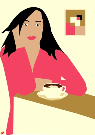 freetime: A  woman sitting in cafe Illustration