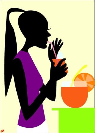 sangria: A woman drinking sangria