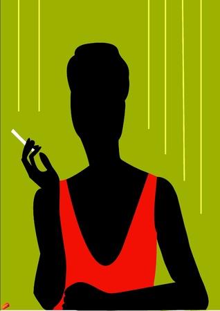 women smoking: Una mujer con un cigarrillo
