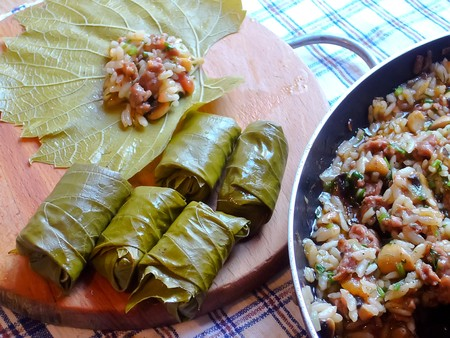 Vine leaves stuffed with rice, mushrooms and spices.
