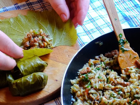 israeli: Vine leaves stuffed with rice, mushrooms and spices.