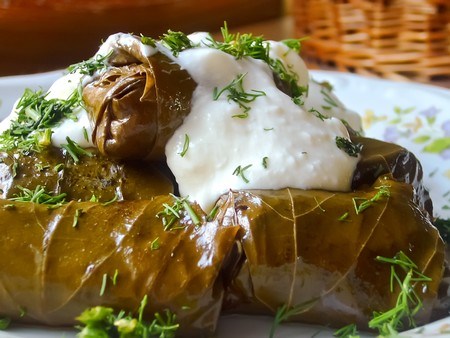 turkish dessert: Vine leaves stuffed with rice, mushrooms and spices.