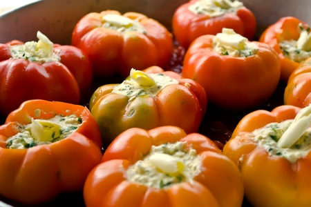bell peppers prepared baking stuffed with eggs, cheese and spices.
