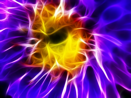 Abstract soft and smooth purple-yellow fire fractal flower. Stock Photo - 9334864