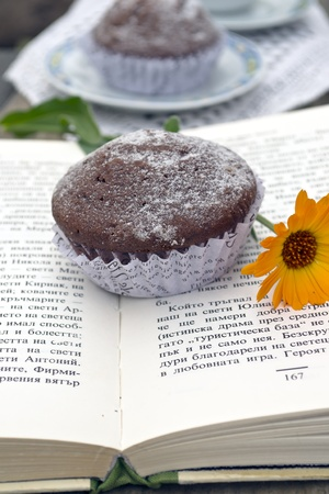 Muffin with a cappuccino on a book