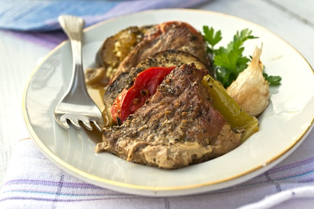 Pork country style with green peppers, eggplant and tomatoes and garlic Stock Photo - 10564407
