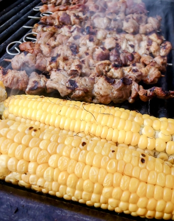 Meat skewers and corn on electric grill Stock Photo