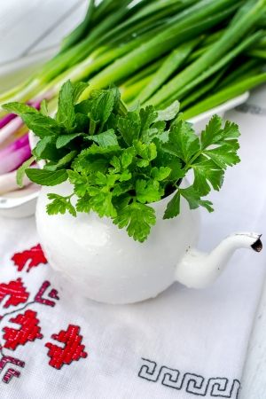 Old kettle on white filled with green spices - mint and parsley Stock Photo