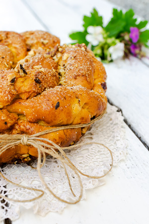 Sweet Easter bread with flowers decoration