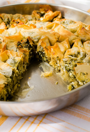 fillo: Spiral pastry with cheese and dock Stock Photo