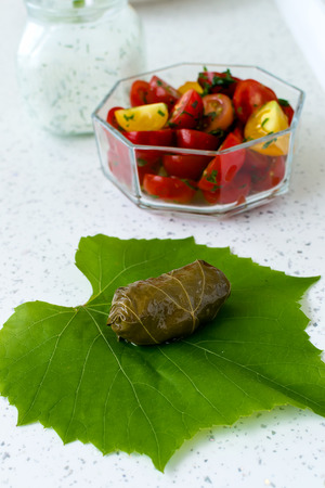 Traditional Bulgarian homemade stuffed vine leaves with rice and garnished with fresh tomatoes, lemon and sauce of yogurt and dill