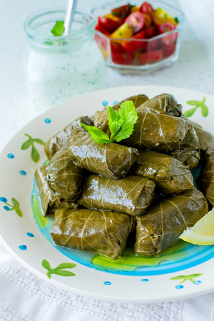 vine leaves: Traditional Bulgarian homemade stuffed vine leaves with rice and garnished with fresh tomatoes, lemon and sauce of yogurt and dill
