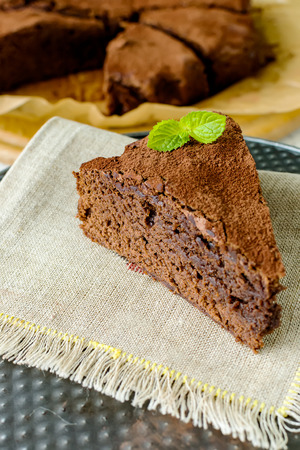 sprinkled: Brownie peanut butter sprinkled with cocoa powder Stock Photo